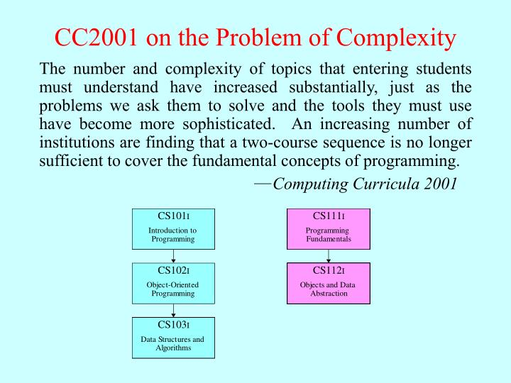 Cc2001 on the problem of complexity