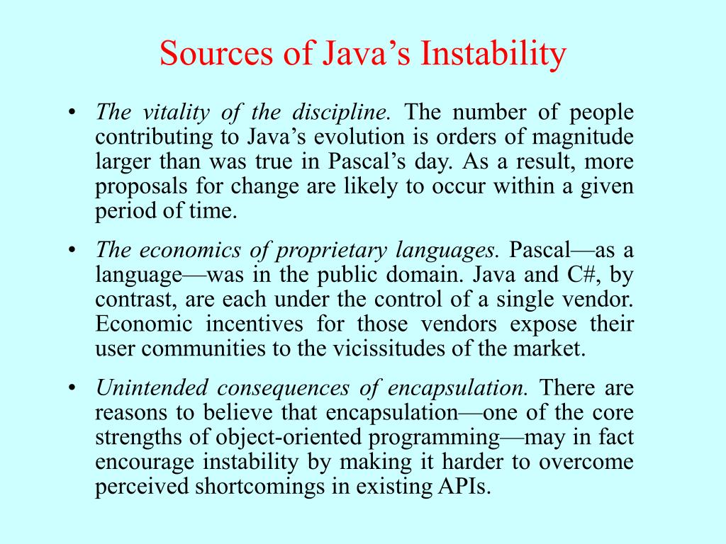 Sources of Java's Instability