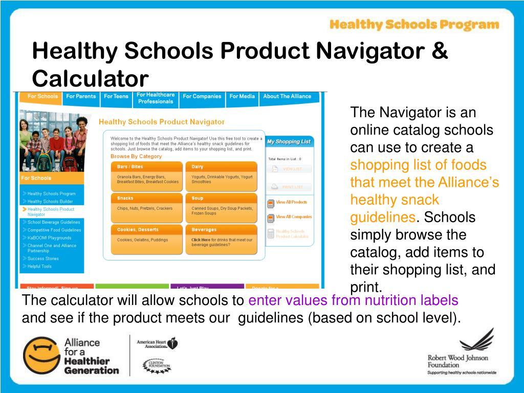 Healthy Schools Product Navigator & Calculator