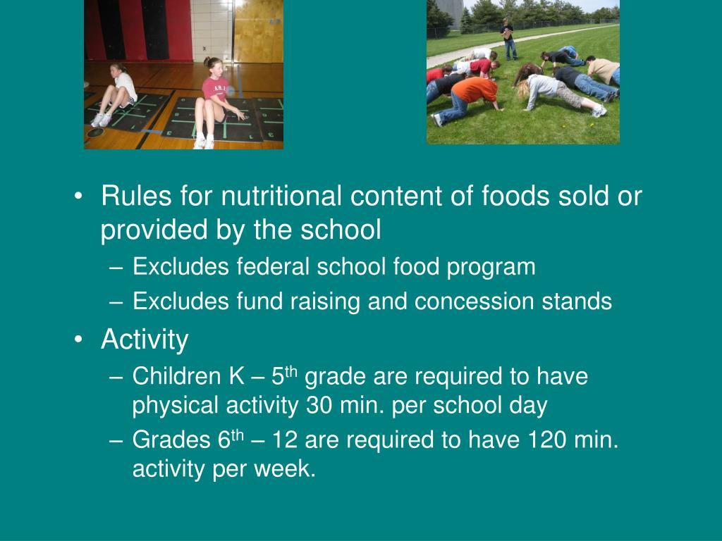 Rules for nutritional content of foods sold or provided by the school