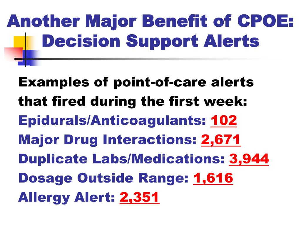 Another Major Benefit of CPOE: