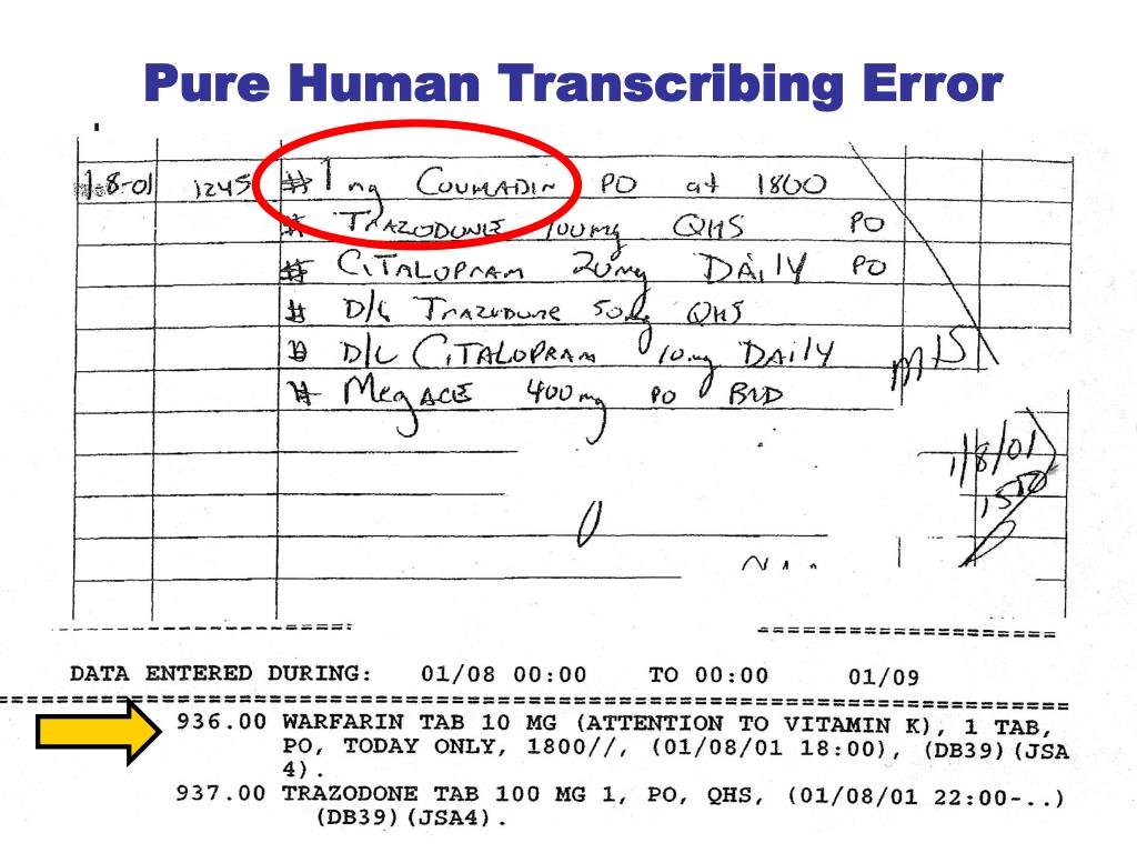Pure Human Transcribing Error