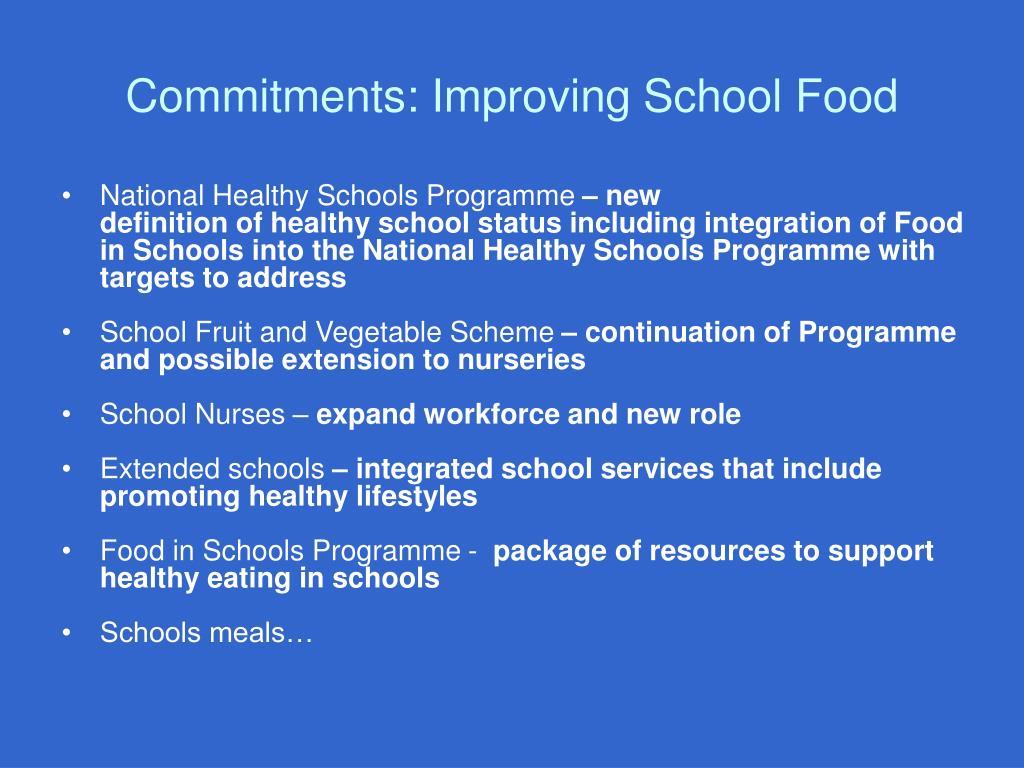 Commitments: Improving School Food