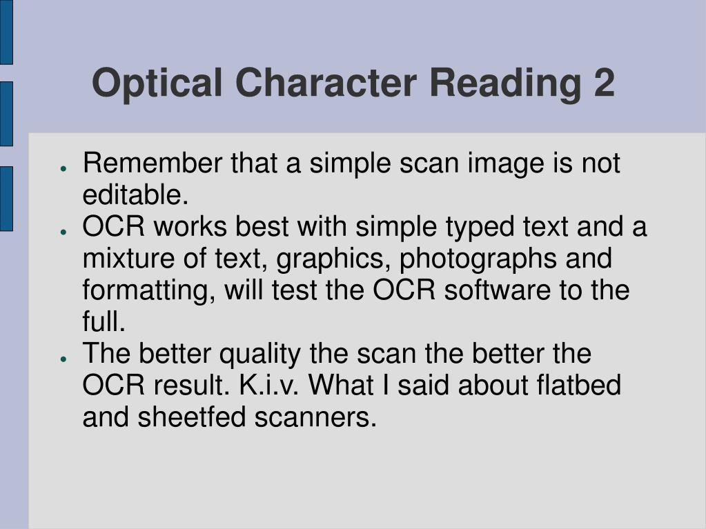 Optical Character Reading 2