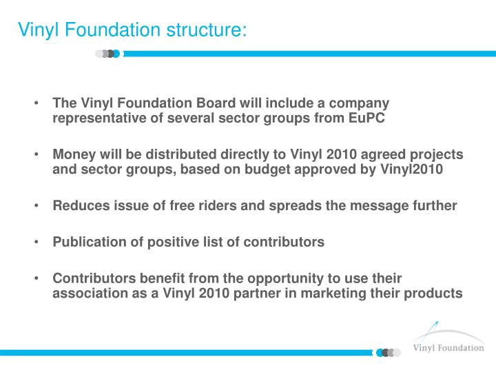 The Vinyl Foundation Board will include a company representative of several sector groups from EuPC