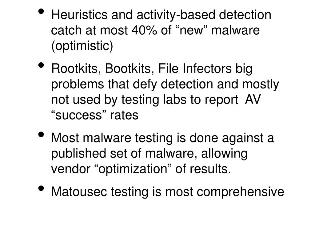 "Heuristics and activity-based detection catch at most 40% of ""new"" malware (optimistic)"
