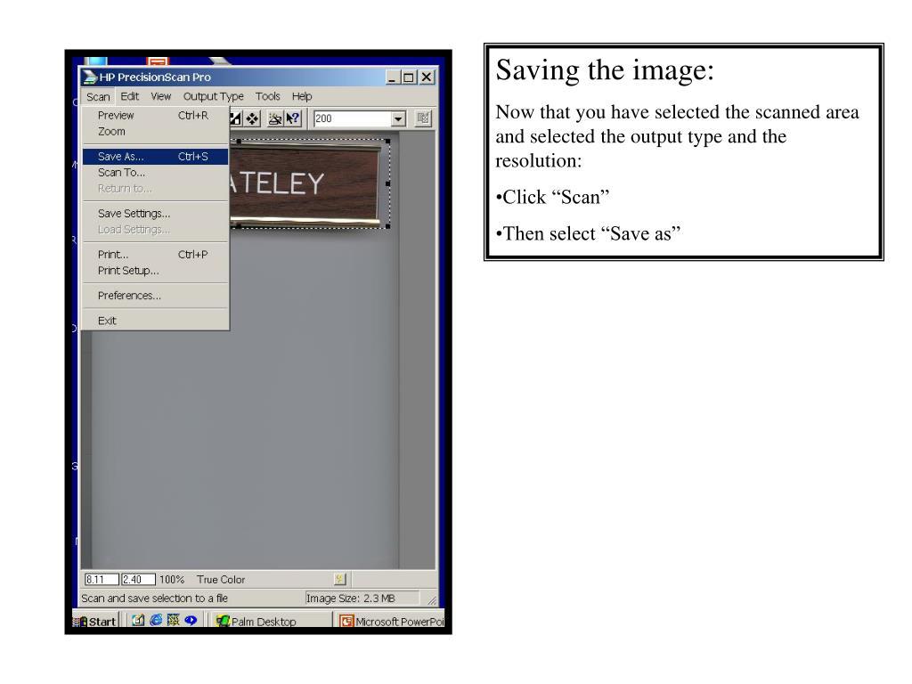 Saving the image: