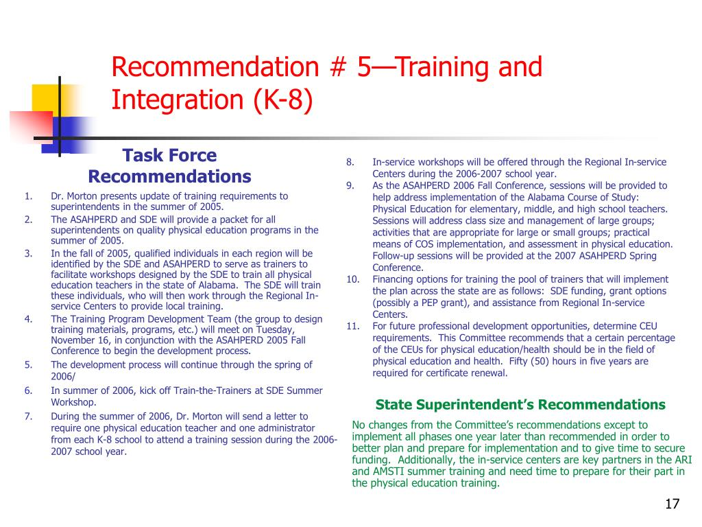 Recommendation # 5—Training and Integration (K-8)