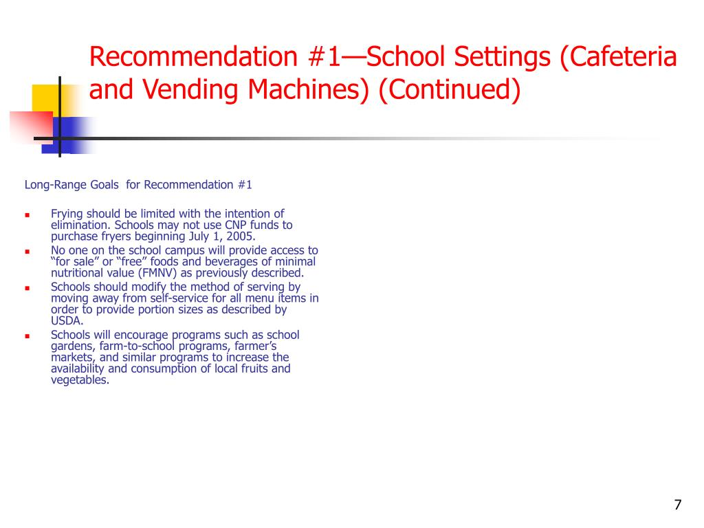 Recommendation #1—School Settings (Cafeteria and Vending Machines) (Continued)