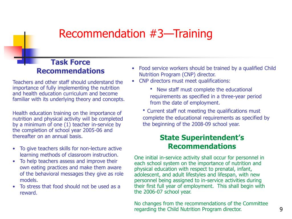 Recommendation #3—Training