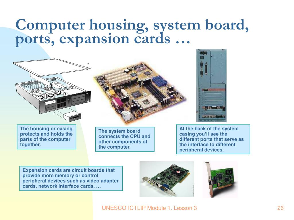 Computer housing, system board, ports, expansion cards …