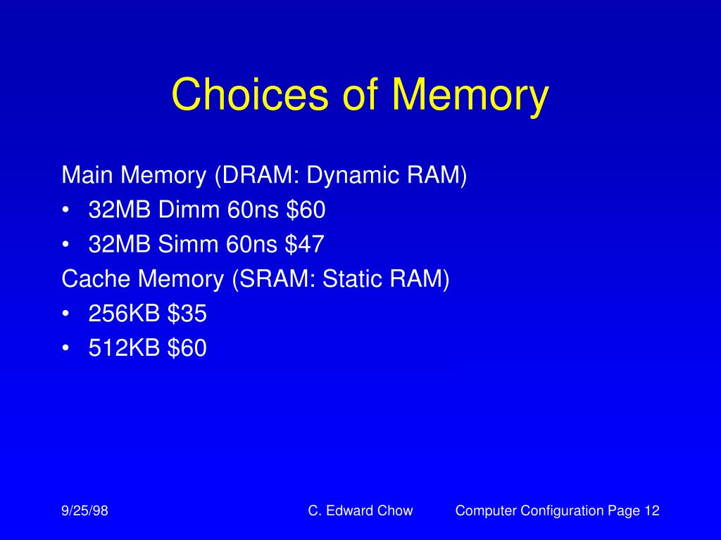 Choices of Memory