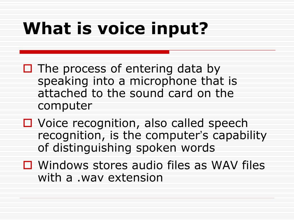 What is voice input?