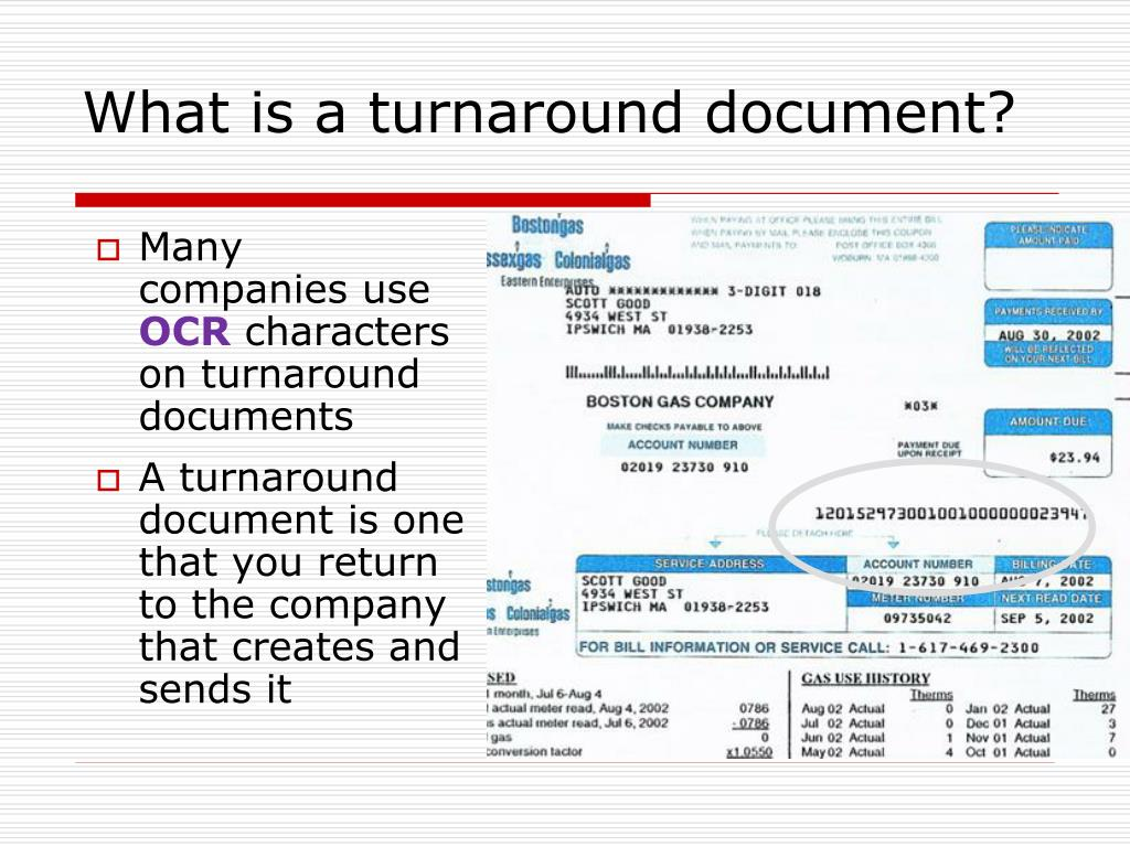 What is a turnaround document?