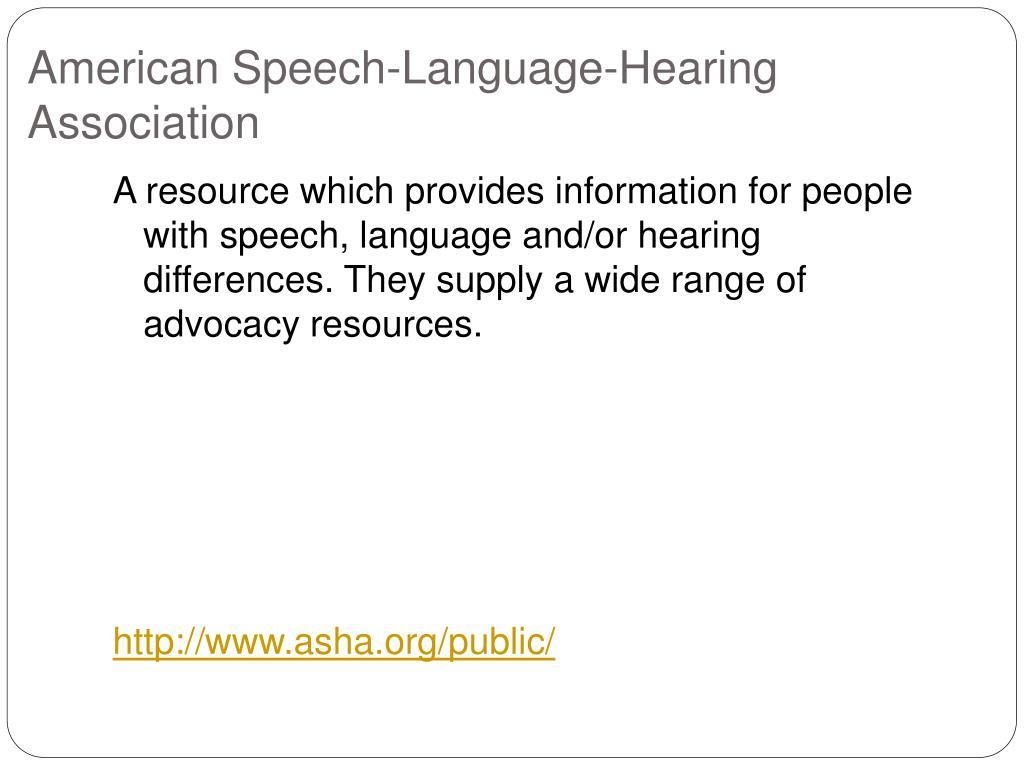 American Speech-Language-Hearing  Association