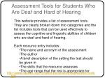 assessment tools for students who are deaf and hard of hearing
