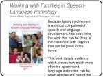 working with families in speech language pathology nicole watts pappas and sharynne mcleod