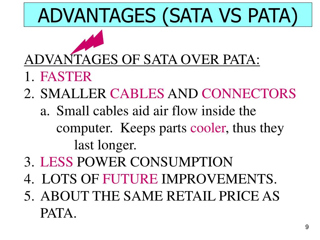 ADVANTAGES (SATA VS PATA)