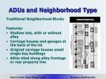 adus and neighborhood type