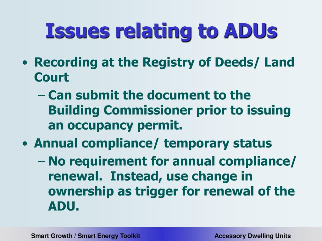 Issues relating to ADUs