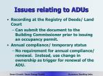 issues relating to adus20