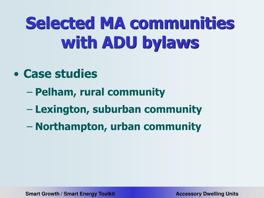 Selected MA communities with ADU bylaws