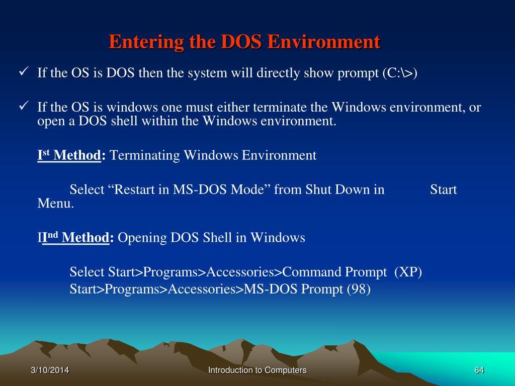 Entering the DOS Environment