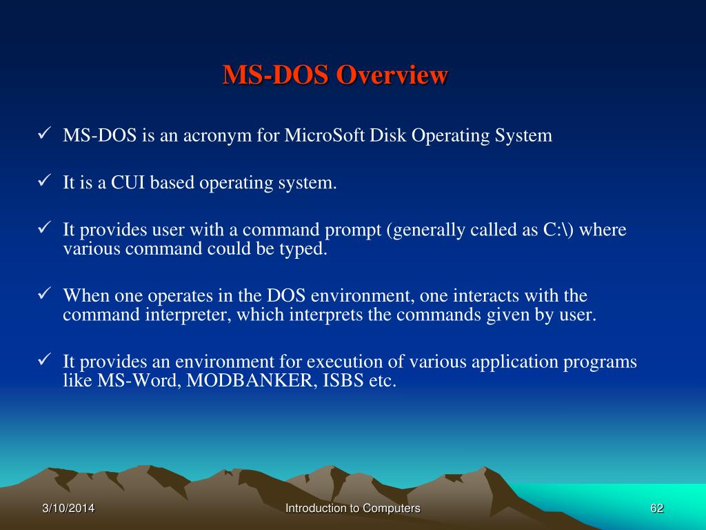 MS-DOS Overview