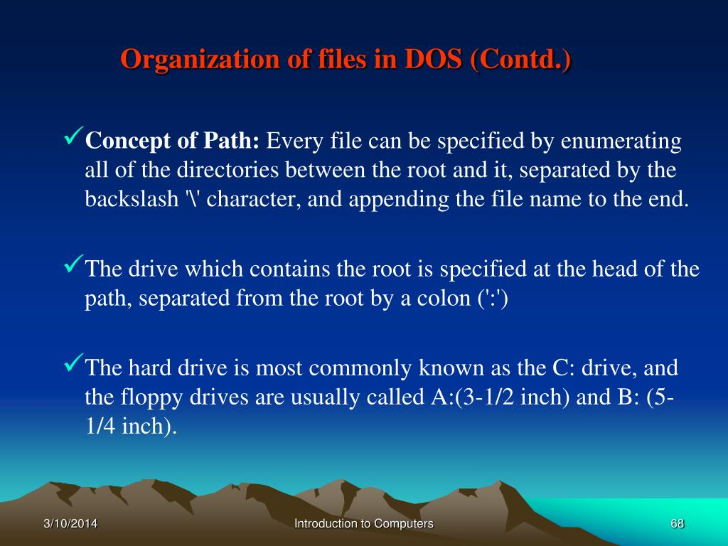 Organization of files in DOS (Contd.)
