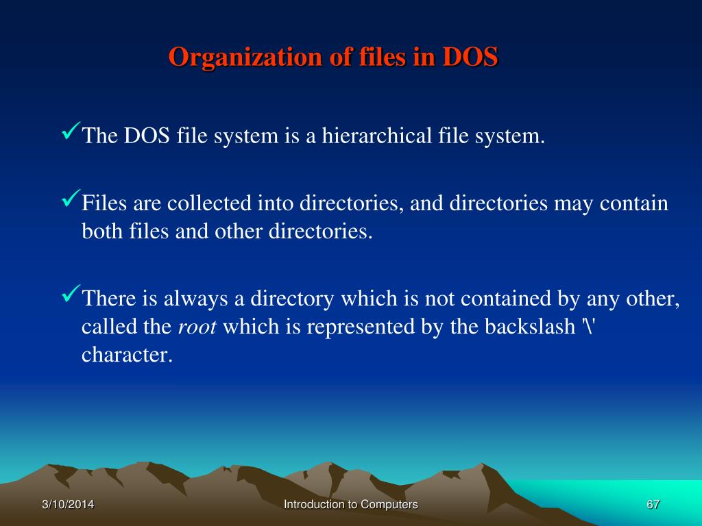 Organization of files in DOS
