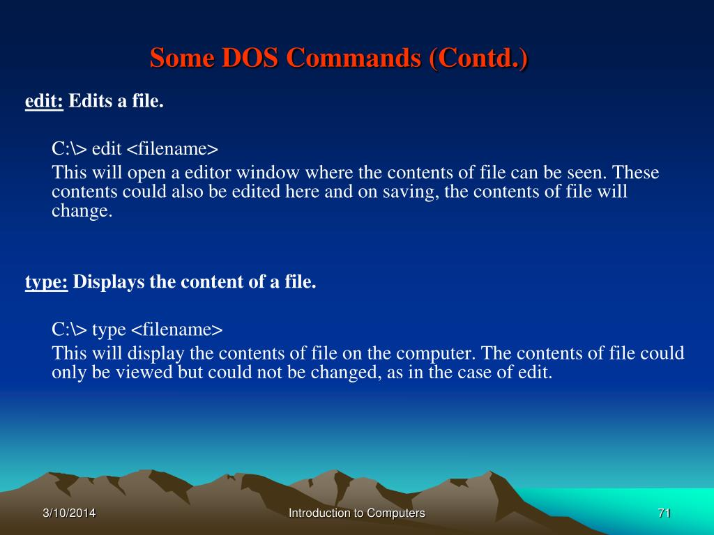 Some DOS Commands (Contd.)