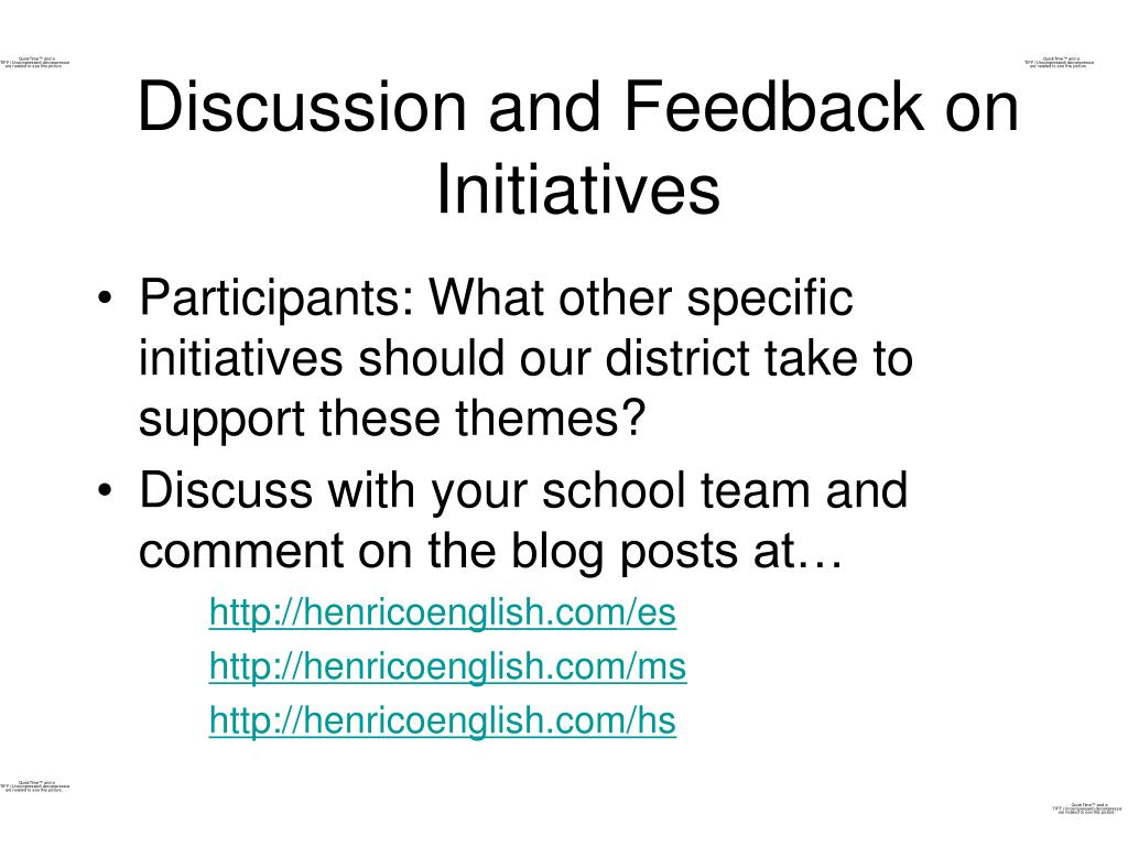 Discussion and Feedback on Initiatives