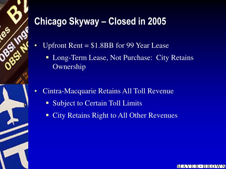 Chicago skyway closed in 2005