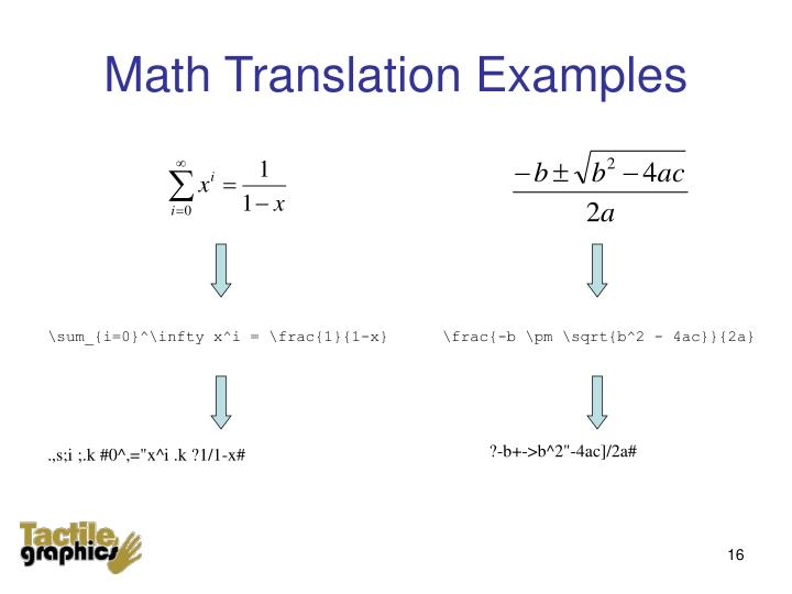 Math Translation Examples