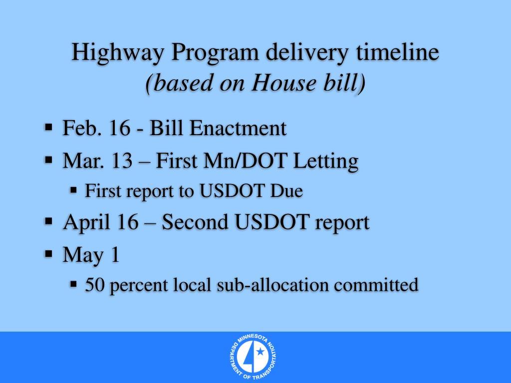 Highway Program delivery timeline