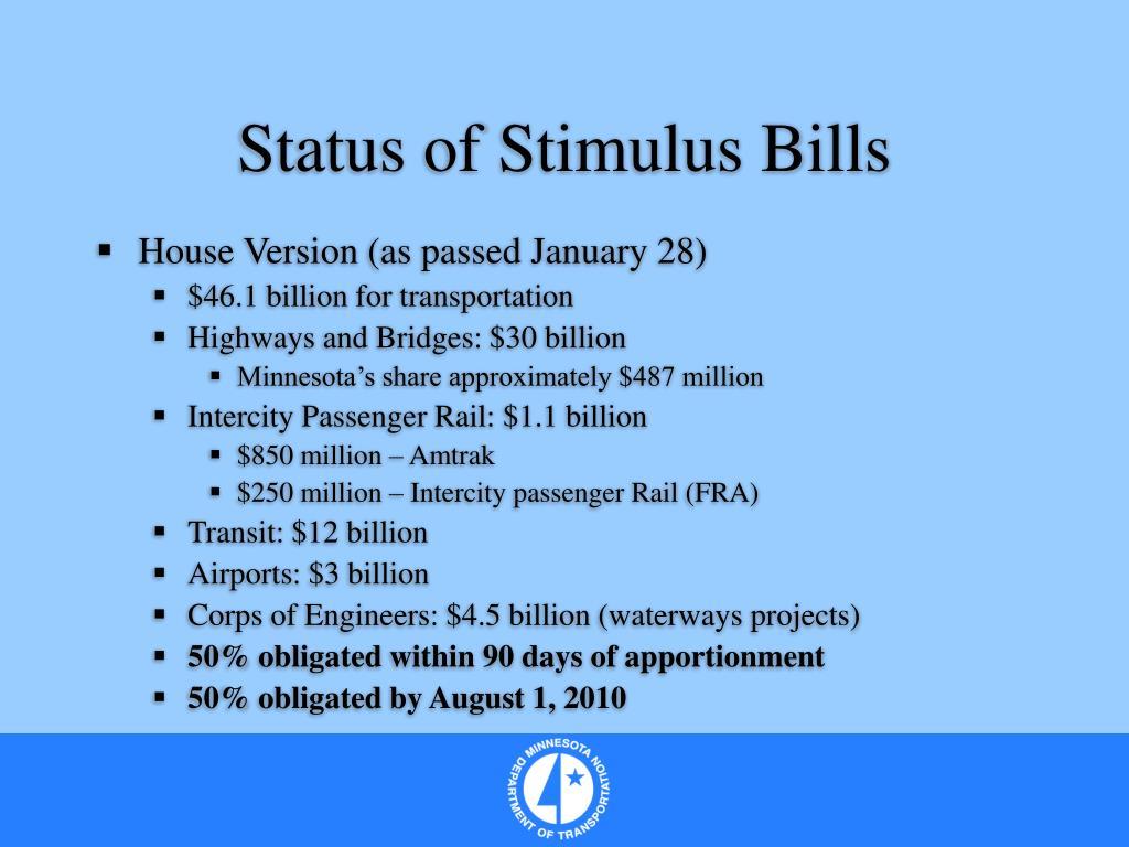 Status of Stimulus Bills