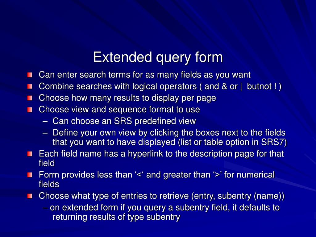 Extended query form
