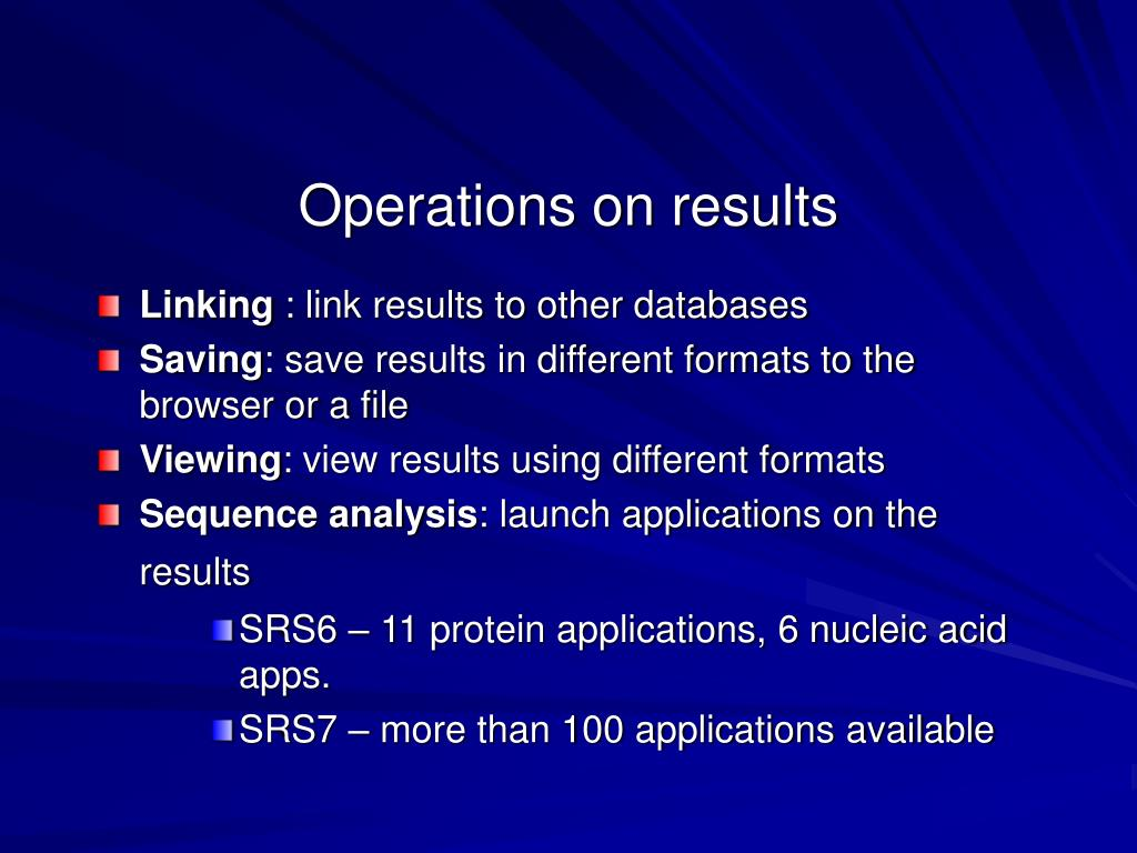 Operations on results
