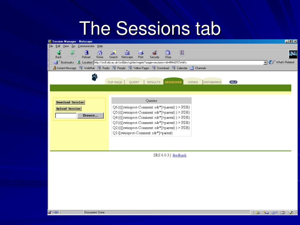 The Sessions tab