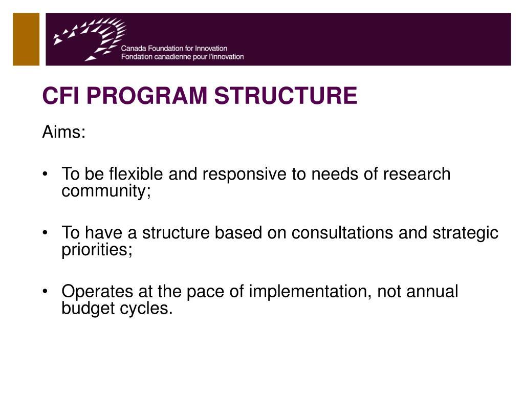 CFI PROGRAM STRUCTURE