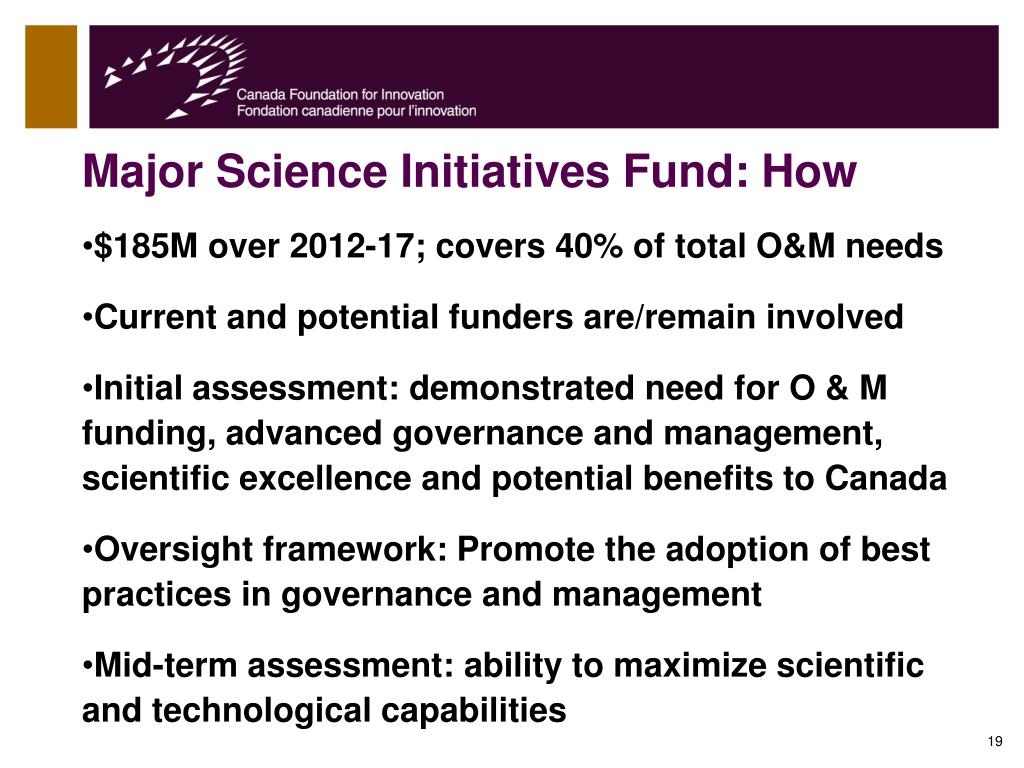 Major Science Initiatives Fund: How