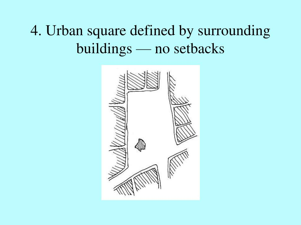 4. Urban square defined by surrounding buildings — no setbacks