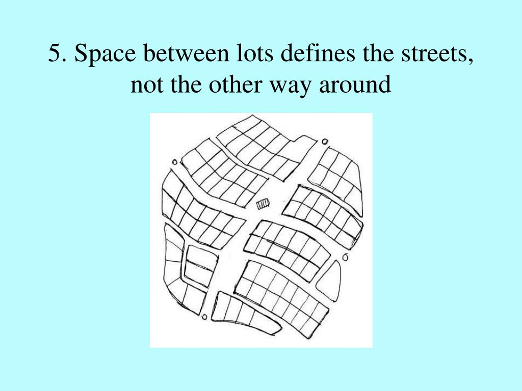 5. Space between lots defines the streets, not the other way around