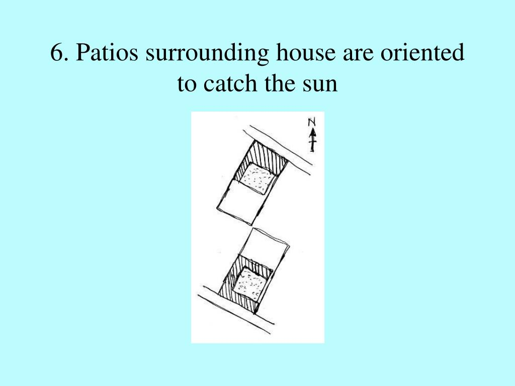 6. Patios surrounding house are oriented to catch the sun