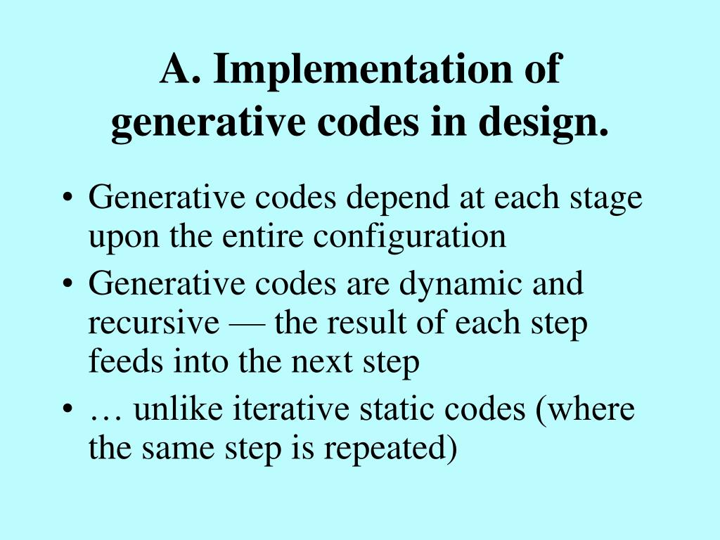 A. Implementation of generative codes in design.
