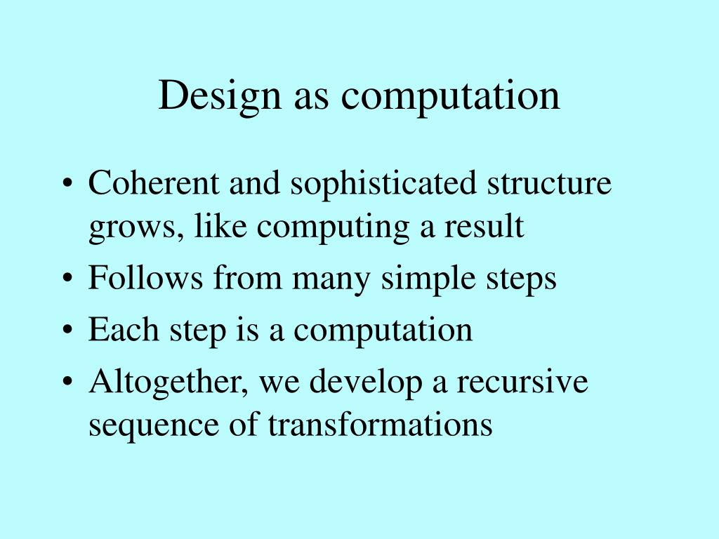 Design as computation