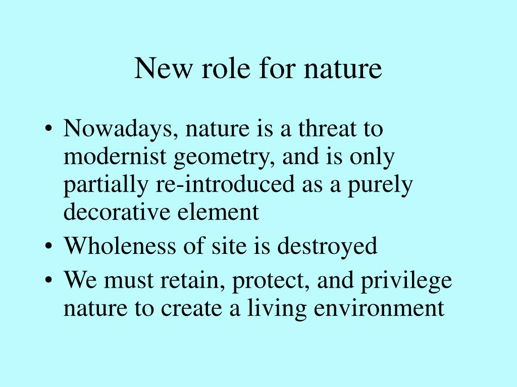 New role for nature