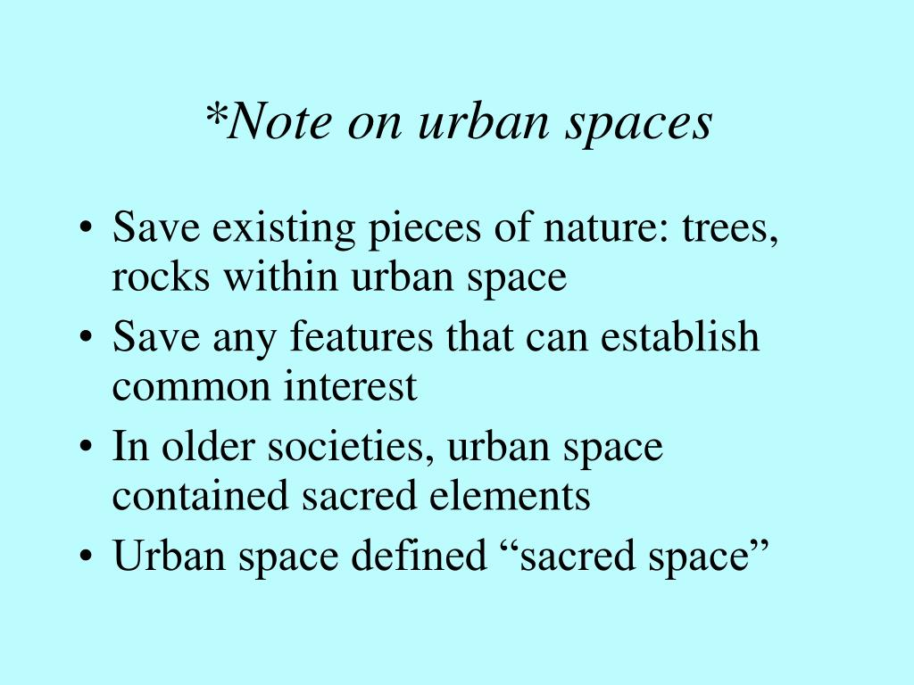 *Note on urban spaces