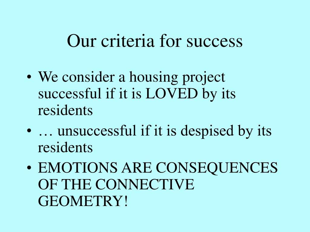 Our criteria for success