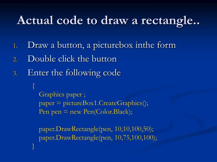 Actual code to draw a rectangle..
